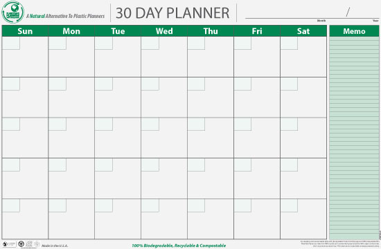 Thirty Day Calendar | Calendar Template 2016