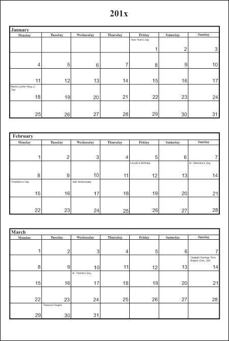 Printable 3 Month Same Page 2016 Monthly Calendar Pages | Calendar ...